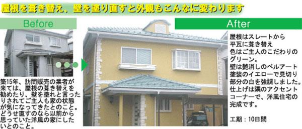 屋根の葺き替え、壁の塗り直し